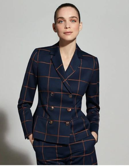 The Fold Astwood Jacket Toffee and Navy Check Wool
