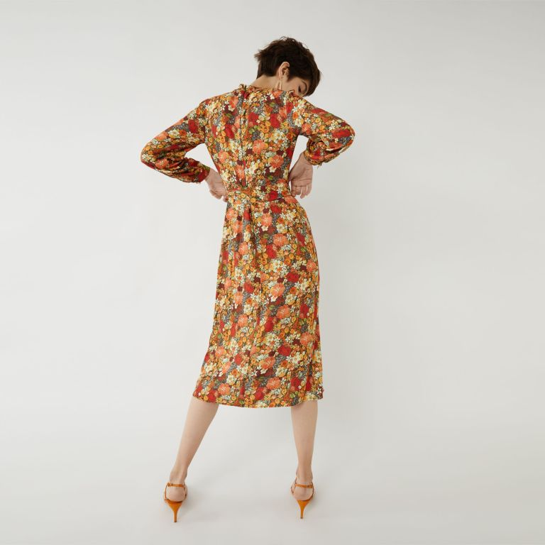 Warehouse RETRO FLORAL MIDI DRESS back view