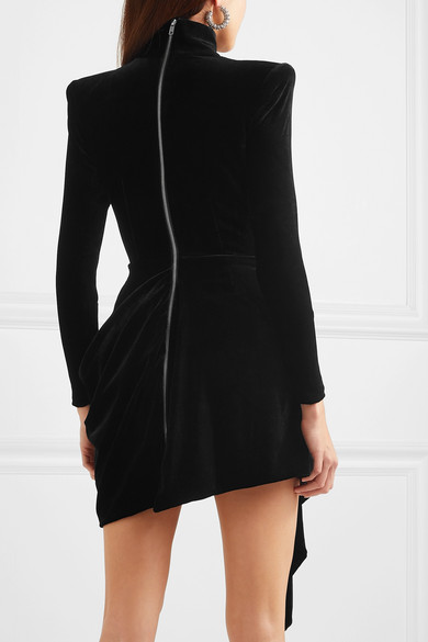 Alex Perry Parker Draped Velvet Mini dress back view