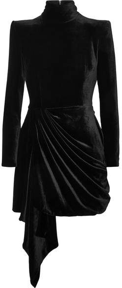 Alex Perry Parker Draped Velvet Mini dress