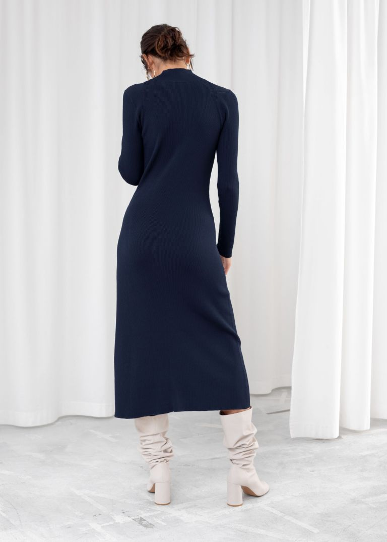 And other stories ribbed turtleneck midi dress back view