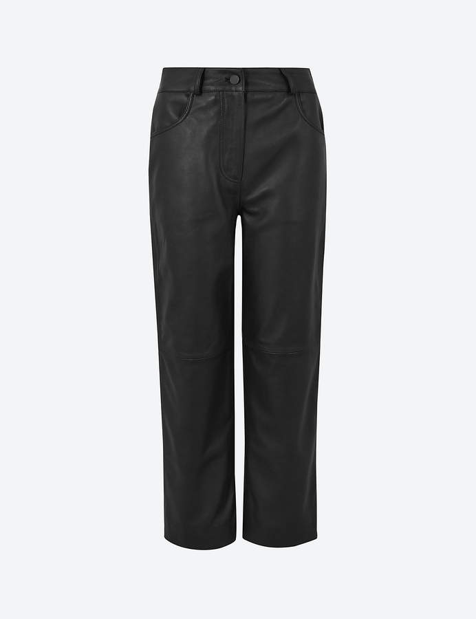 Autograph Marks and Spencer Leather Cropped Straight Trousers