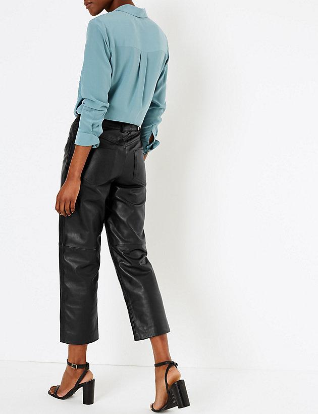 AutographMarks and Spencer Leather Cropped Straight Trousers back view
