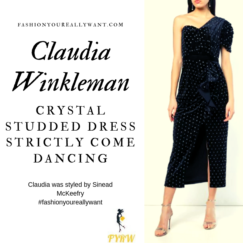 Claudia Winkleman Wore a black velvet one sleeve crystal studded dress on Strictly Come Dancing Week 3 outfit blog October 2019
