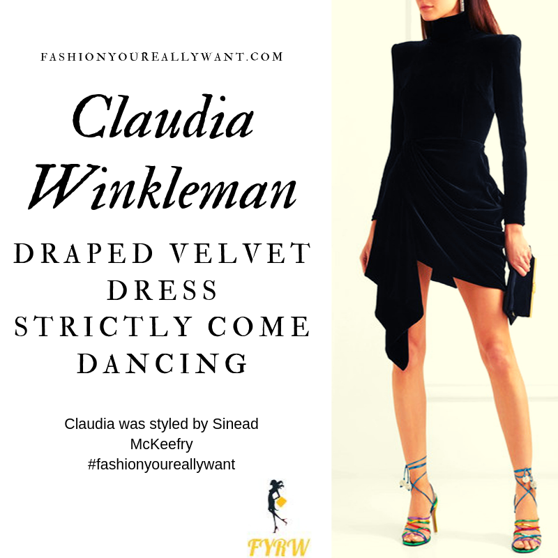 Claudia Winkleman Wore a black velvet padded shoulder draped mini dress on Strictly Come Dancing Week 4 outfit blog October 2019