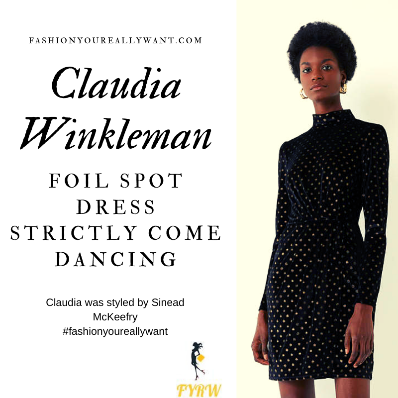 Claudia Winkleman Wore a gold spot black high neck dress on Strictly Come Dancing Week 5 Results Show outfit blog October 2019