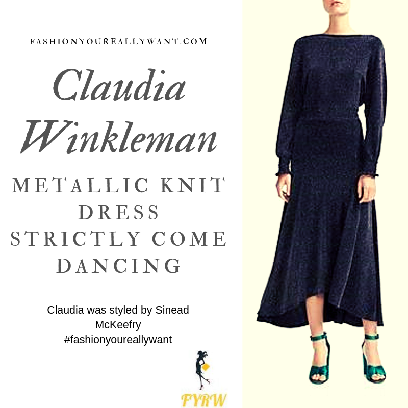 Claudia Winkleman Wore a black sparkle glitter metallic knit dress on Strictly Come Dancing Week 3 October 2019 outfit blog