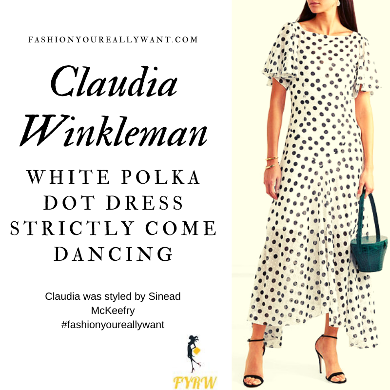 Claudia Winkleman Wore this White Polka Dot Spot dress on Strictly Come Dancing Week 5 outfit blog October 2019