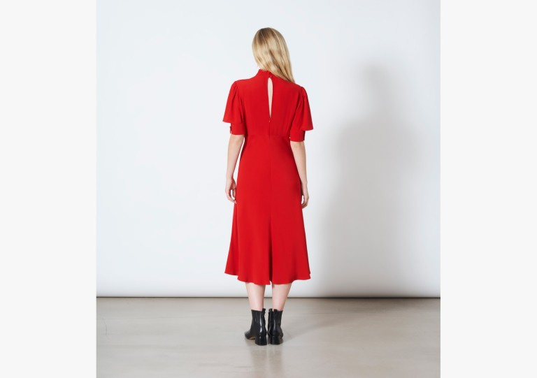 Finery London Beaumont Red Dress back view