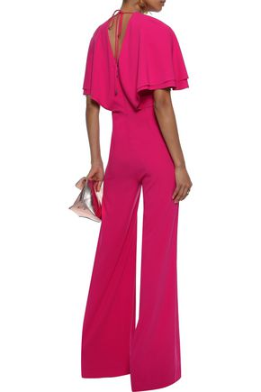 Halston Heritage Tie-back Layered Crepe Jumpsuit back view