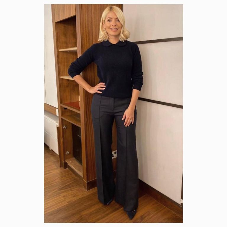 Holly Willoughby black knitwear black charcoal trousers This morning October 2019 Photo Holly Willoughby