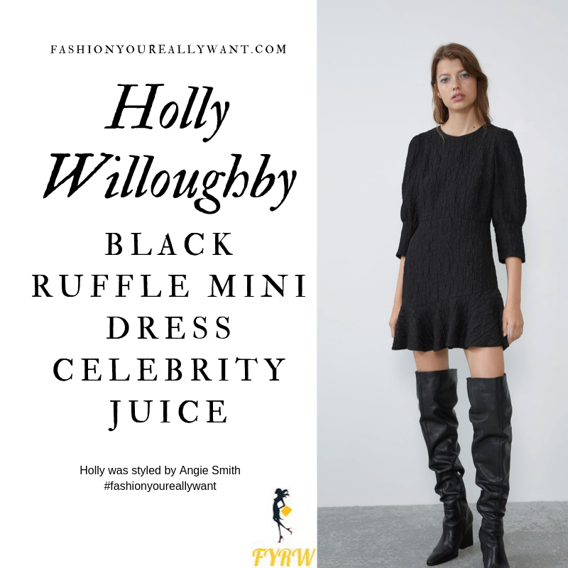 Holly Willoughby wore a Black Ruffle Mini Dress with strappy suede sandals on Celebrity Juice outfit blog October 2019