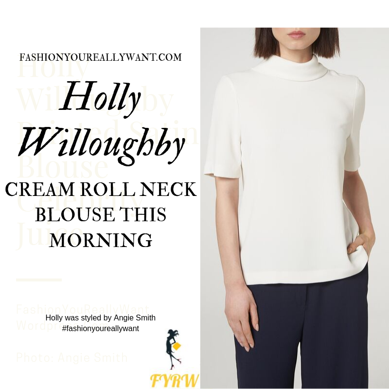 Holly Willoughby Wore a cream roll neck short sleeve blouse with black trousers on  This Morning today blog October 2019