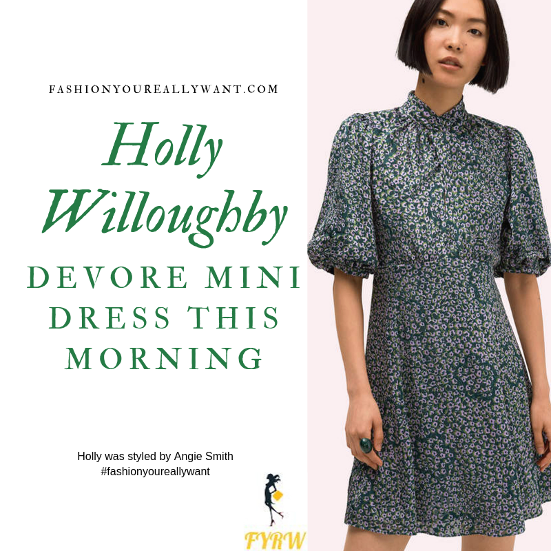 Holly Willoughby Wore a grey green devore floral mini dress with cream square toe boots on  This Morning today outfit blog October 2019