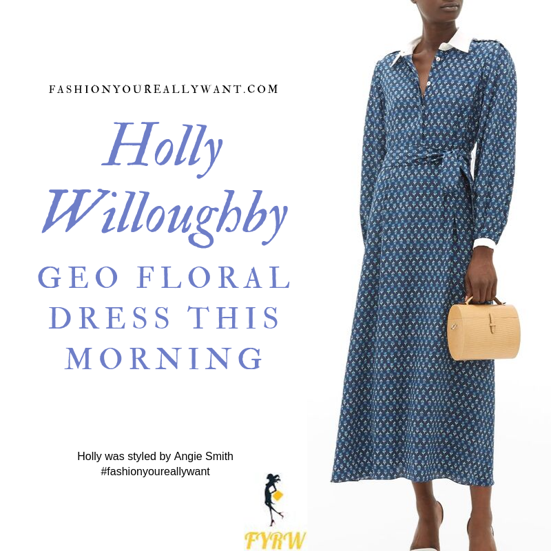 Holly Willoughby Wore a blue geo floral print dress with white collar and cuffs with nude suede court shoes on  This Morning today October 2019 outfit blog