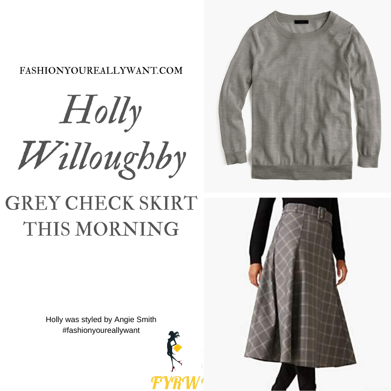 Holly Willoughby wore this grey check skirt grey jumper and grey court shoes on  This Morning today outfit blog October 2019
