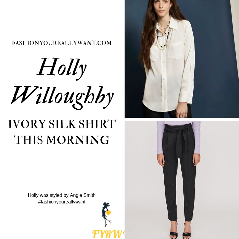 Holly Willoughby Wore an ivory silk shirt with black taped tie wait trousers on This Morning today outfit blog October 2019
