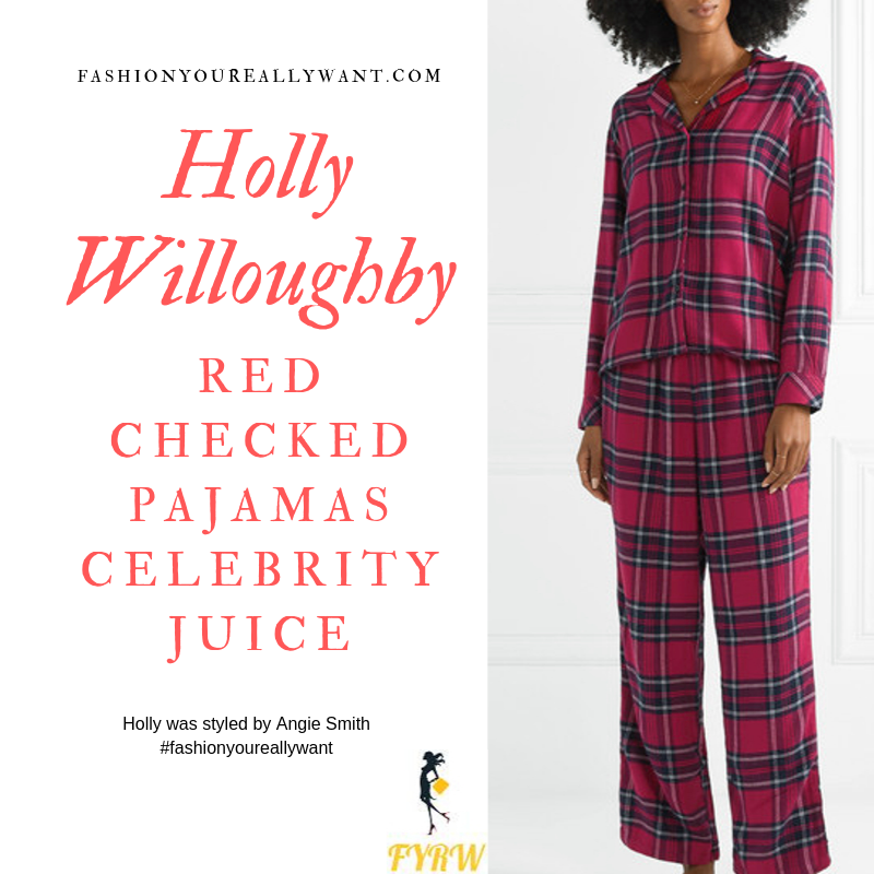 Holly Willoughby Wore TheseRed Checked Pajamas and red and green glitter slippers for Celebrity Juice Christmas Special October 2019 outfit blog