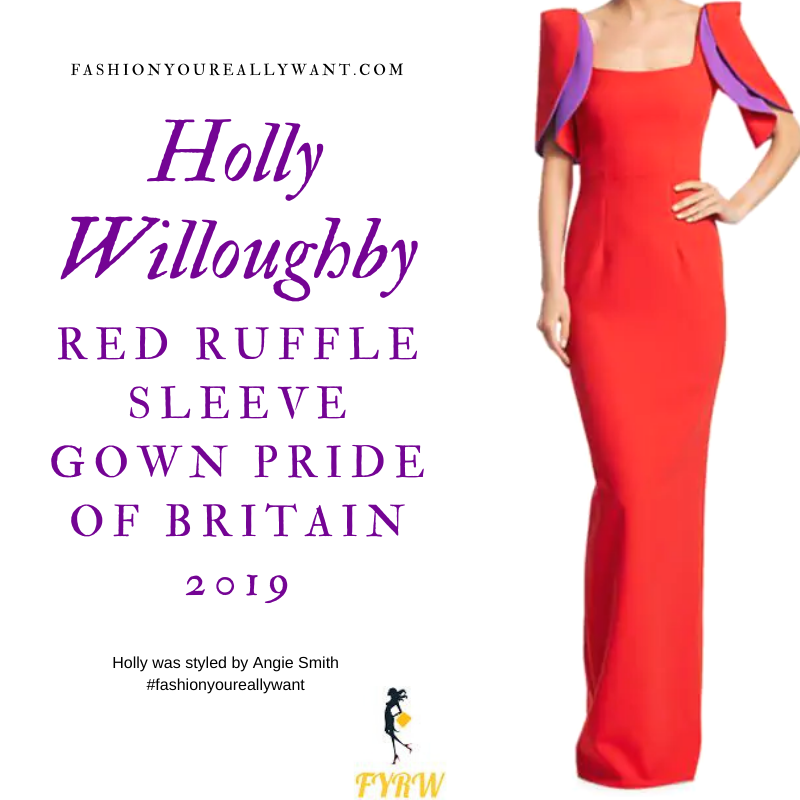 Holly Willoughby Wore This Red and Purple Ruffle Sleeve Gown for Pride of Britain 2019 outfit blog October 2019