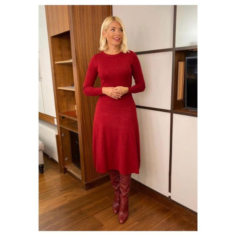 Holly Willoughby rust fit and flare dress brown boots This Morning outfit today October 2019 Photo Holly Willoughby