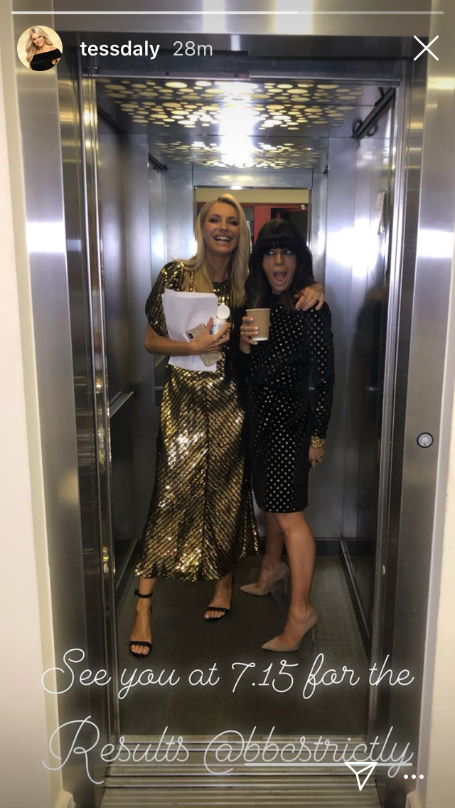how to find Claudia winkleman black dress with gold spot Strictly October 2019 Photo Tess Daly