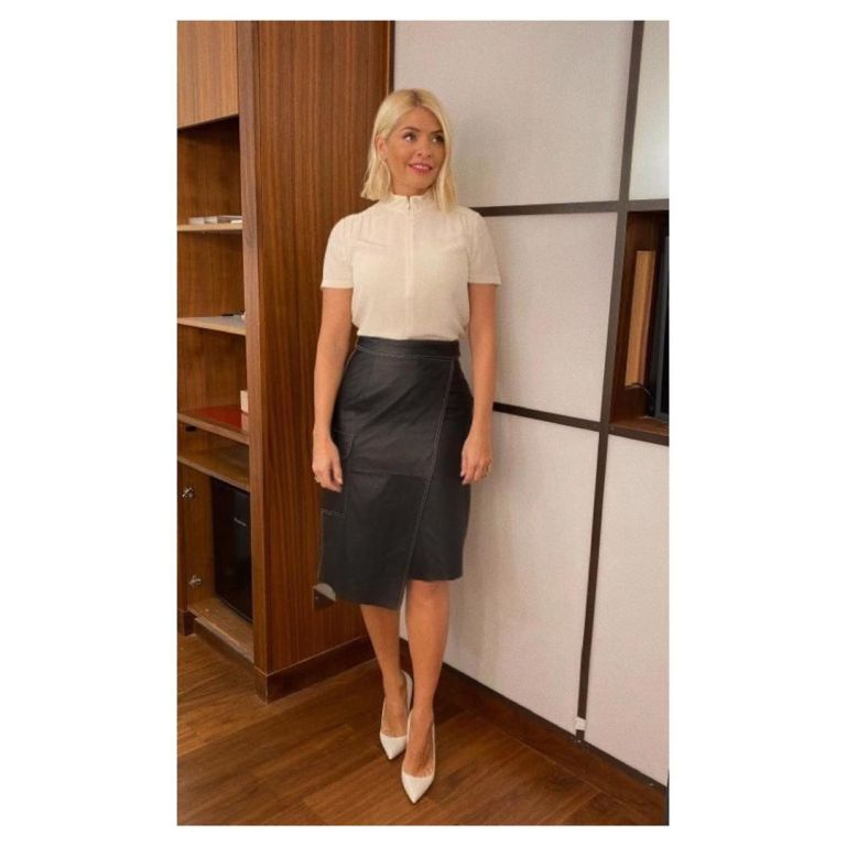 how to find Holly Willoughby black stepped leather skirt cream zip top This Morning October 2019 Photo holly Willoughby