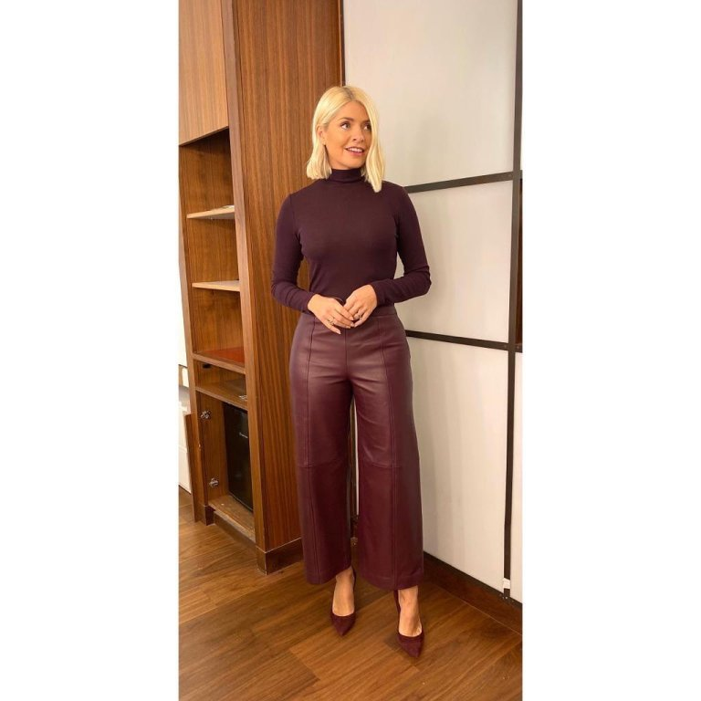 how to find holly Willoughby burgundy leather trousers burgundy polo neck This Morning today October 2019 Photo Holly Willoughby