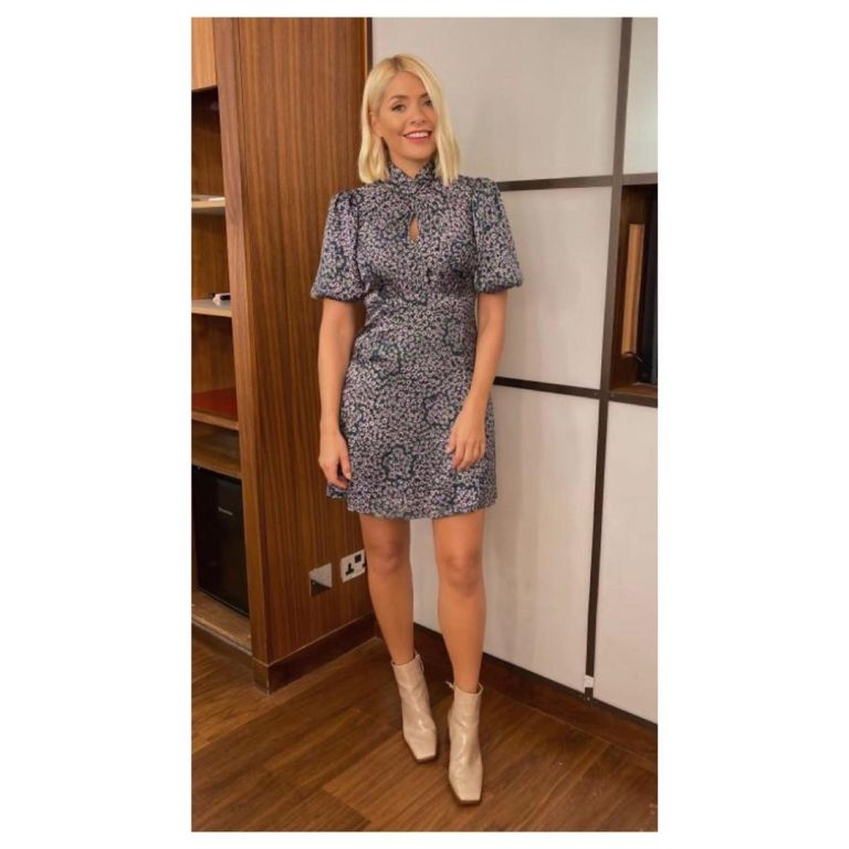 how to find Holly Willoughby grey green floral mini dress cream boots This Morning October 2019 Photo Holly Willoughby