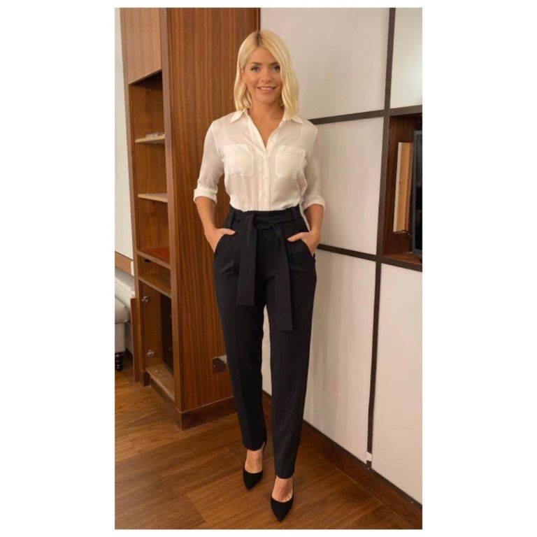 how to find Holly Willoughby ivory shirt black tie front trousers This Morning October 2019 Photo Holly Willoughby