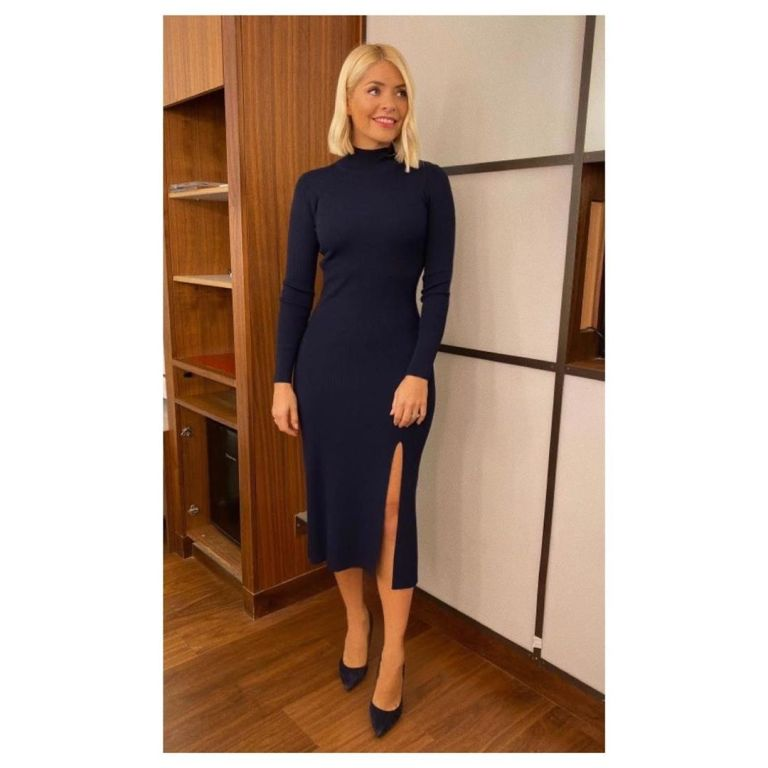 how to find Holly Willoughby navy ribbed turtleneck midi dress This Morning October 2019 Photo Holly Willoughby