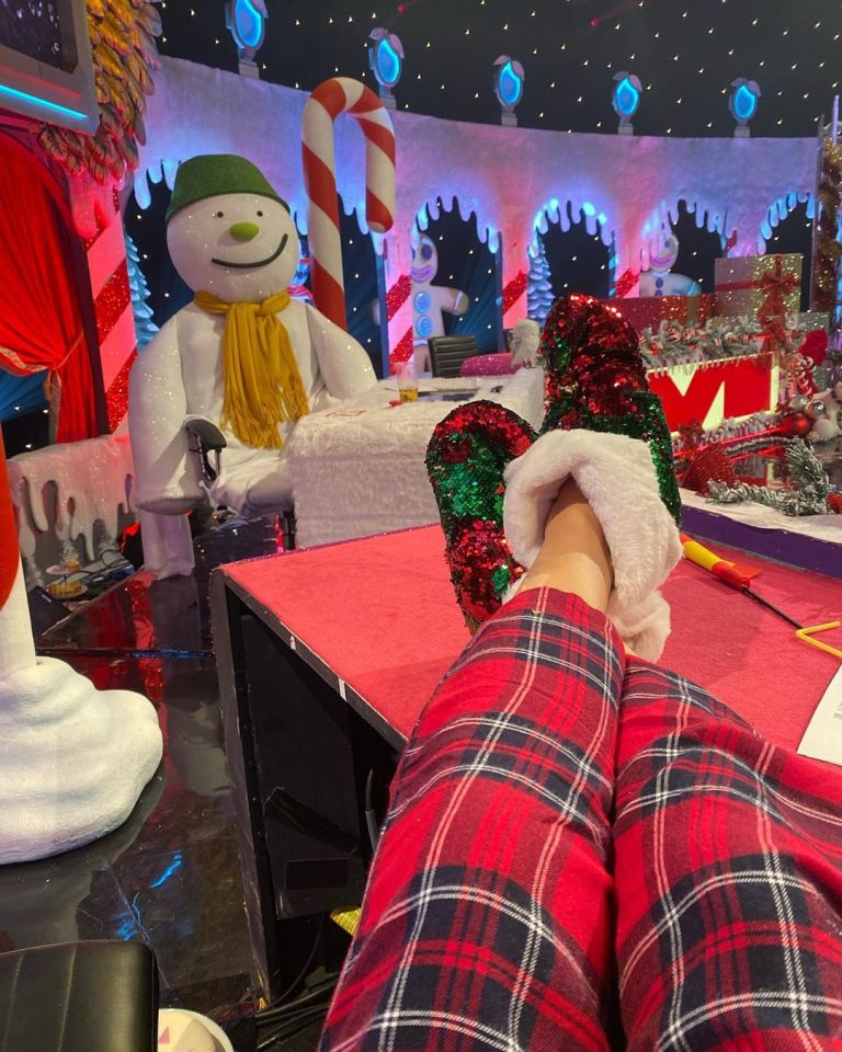 how to find Holly Willoughby red and green glitter slippers Celebrity Juice Christmas Special October 2019 Photo Holly Willoughby