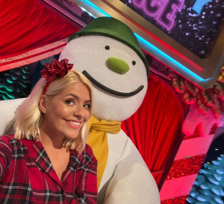 how to find Holly Willoughby red check tartan pyjama suit Celebrity Juice Christmas Special October 2019 Photo Holly Willoughby