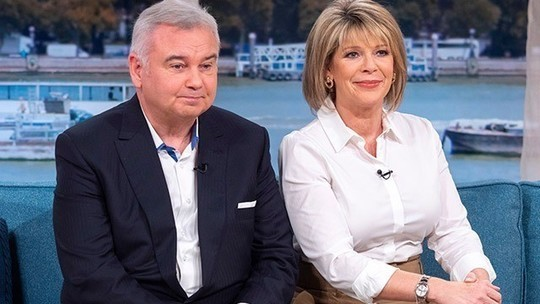 How to find Ruth Langsford camel belted pencil skirt white shirt This Morning October 2019 Photo ITV