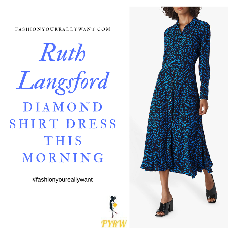 Ruth Langsford Wore This Black and blue diamond shirt dress on  This Morning today outfit blog October 2019