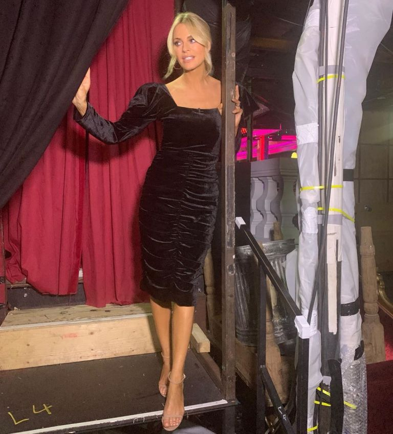 how to find Tess Daly black velvet ruched square neck dress Strictly Come Dancing October 2019 Photo Tess Daly