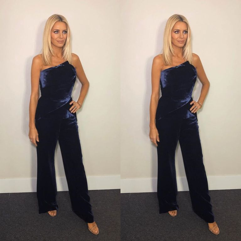 how to find Tess Daly blue strapless velvet jumpsuit Strictly October 2019 Photo James Yardley
