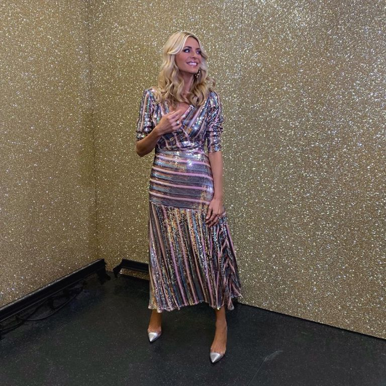 how to find Tess Daly pink and silver striped sequin dress Strictly October 2019 Photo Tess Daly