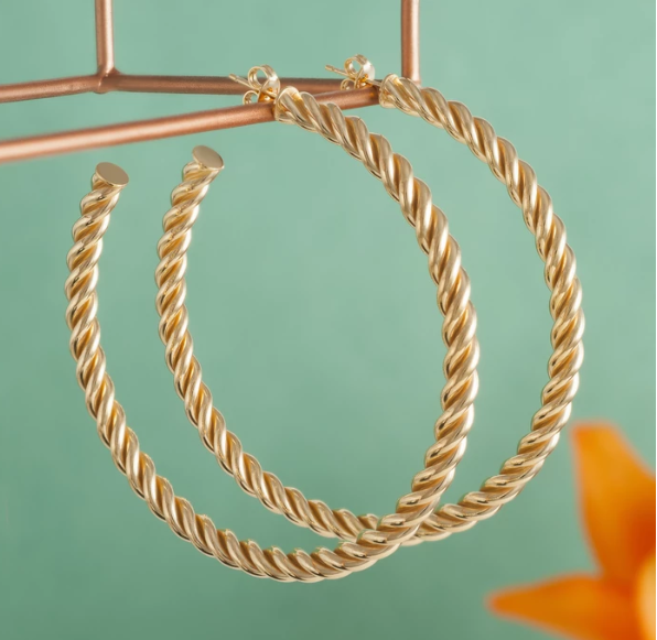 Loel and co Large Gold Spral Hoop Earrings