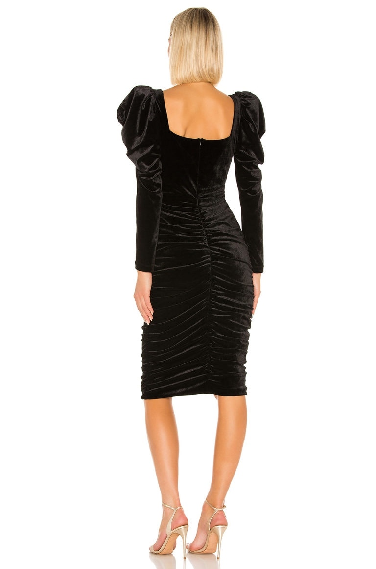 lORANE Velvet Midi Dress back view