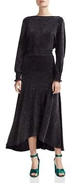 Maje Rio Metallic V-Back Midi Dress