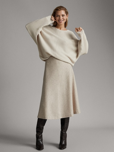 Massimo Dutti Wool Midi Skirt