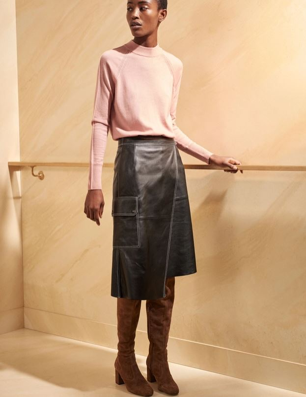 Me + Em Stepped Hem Leather Pencil Skirt