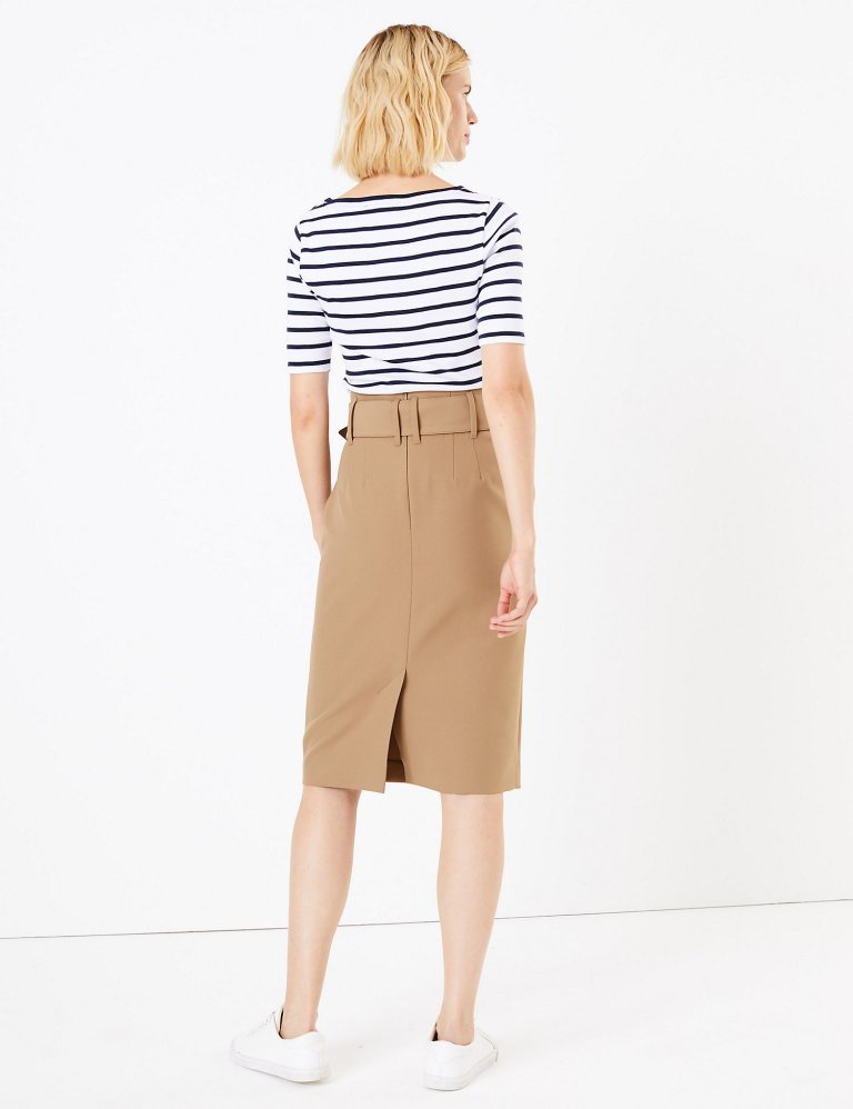 M&S Collection Belted Pencil Skirt back view