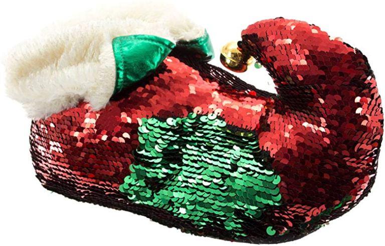 Red green glitter elf slippers