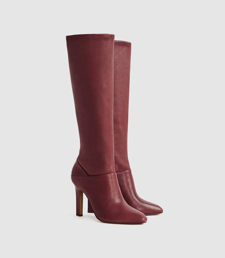 Reiss Cresida - Leather Knee High Boots in Claret