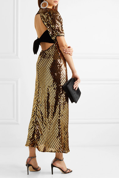 Rixo Daisy velvet-trimmed cutout sequined georgette midi dress back view