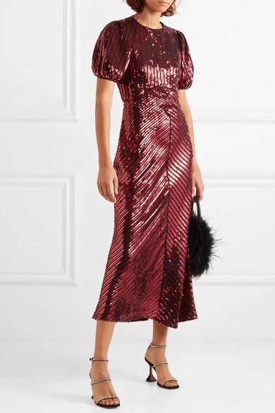 Rixo Daisy velvet trimmed sequinned crepe midi dress