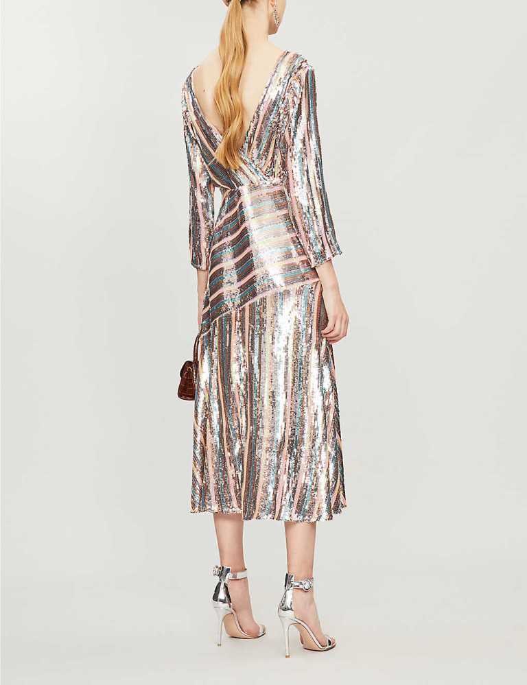 Rixo Tyra Sequin-Embellished Midi Dress back view