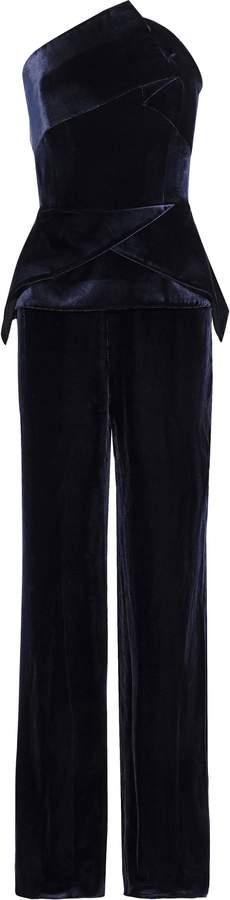 Roland Mouret Carradine Strapless Velvet Jumpsuit
