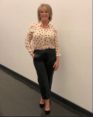 Ruth Langsford cream polka dot blouse black leather trousers This Morning October 2019 Photo Ruth Langsford